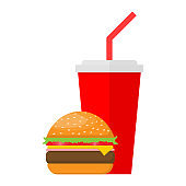hamburger and soda isolated on white background. vector illustration