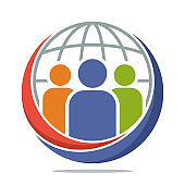 logo icon with global community media concept