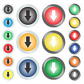 A web button or icon on which the arrow shows down.
