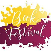 Modern calligraphy lettering of Book Festival in white on purple yellow watercolor background