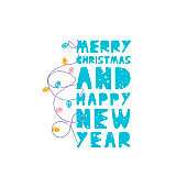 Christmas and New Year elements with lettering. Vector flat design with texture