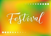 Modern calligraphy lettering of Festival in white on green yellow orange background with dots