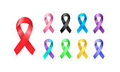 Set of 3d Awareness Ribbons in different colors. Colorful Medical type icon