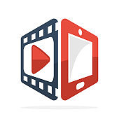 icon illustration symbol with the concept of streaming video / movie with mobile phone application