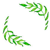 Simple template of green watercolor branches.