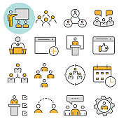 Management consulting vector icon flat line icon set. Vector illustration. Editable stroke.