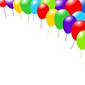 Rainbow color balloons. Happy greeting background.