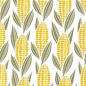 Corn cob maize seamless pattern