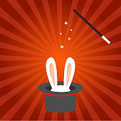 Magic hat with rabbit. Vector flat cartoon illustration