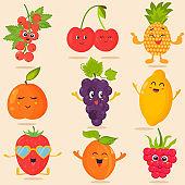 Big bright set of funny cartoon fruits.