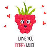 Bright poster with cute funny pink raspberry. Love you berry much banner