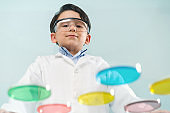 Little scientist in laboratory