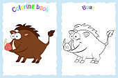 Coloring book page for preschool children with colorful  boar a