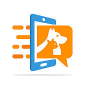 Vector illustration icon with pet information access service concept with mobile application