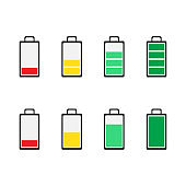 Battery icons. Symbols of battery charge level, full and low.