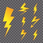 Set of Yellow Thunderbolt Symbols. Vector Danger Signs. Electrical Power Silhouettes Icons.
