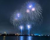 New year eve fireworks at gothenburg operan sweden