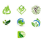 Green ecology vector icons