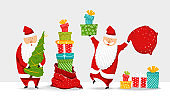 Cartoon Santa Claus set. Funny happy Santa character with Christmas tree, pile of gifts, bag with presents, glad, waving and greeting. For new year invitation, cards, banners, tags and labels