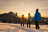winter hiking friends