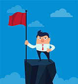 Businessman standing on top of mountain holding a flag