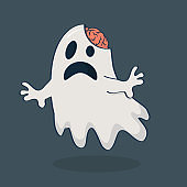 ghost with brain vector