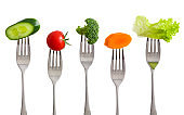 Raw foods on fork