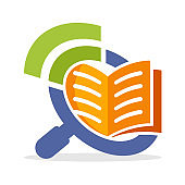 icon illustration with the concept of searching and sharing information about reading books, online reading media