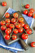 Red ripe cherry tomatoes.