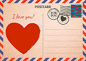 Postcard. Red Heart and words I love you. Air Mail. Postal card illustration for your design. Vintage Postcard. Old paper texture.
