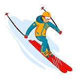 Vector skier cartoon flat style. Man in the ski resort. Winter sport activity. Simple characters. Isolated on white background
