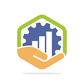 Vector illustration icon with industrial business management and development concepts