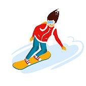 cartoon snowboard riders, men. Winter mountain sports activity, ski resort vacation. Vector illustration in simple flat style.