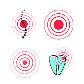 Pain circle symbol vector icon, medical painful spot point in tooth or spine, ache or hurt sign clipart