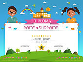 Certificate kids diploma Vector illustration.