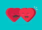 Two happy hearts hugging vector illustration, flat cartoon design man and woman heart characters as couple together with smiling faces, lovely embrace symbol, idea of valentines day gift icon, passion