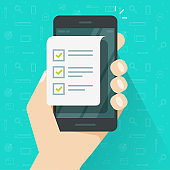Mobile phone and checklist vector illustration, flat cartoon smartphone with paper document and to do list checkboxes, concept of survey, online quiz, completed things, done test, cellphone feedback