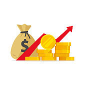 Profit money or budget vector illustration, flat cartoon pile of cash and rising graph arrow up, concept of business success, economic market growth, investment revenue, capital earnings, benefit