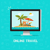Online travel via computer vector illustration, concept of planning on-line trip or journey booking via pc, flat cartoon computer screen with beach resort or beach nature clipart