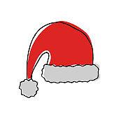 Hand drawn hat of Santa Claus.