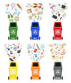 Set of colorful garbage cans with sorted garbage on white background. Ecology and recycle concept. Vector Illustration.