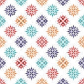 Seamless vector background with Norwegian snowflakes. Pixel snowflakes. Winter pattern. Textile rapport.