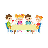 vector children sitting at table eating at camp