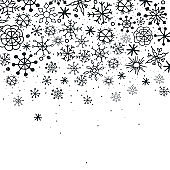 Winter background with hand drawn sketch snowflakes.