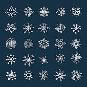Set of hand drawn sketch snowflakes.