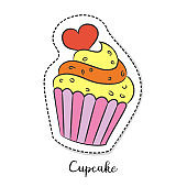 Cartoon sticker with cupcake on white background.