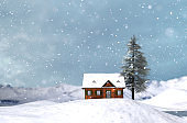House or cottage in winter