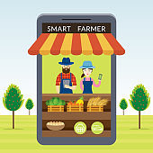 Smart Farmer with Online Shop or Store Concept