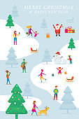 Christmas, People in Action, Activity Outdoor, Winter Background