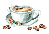 Cup of morning coffee with coffee beans. Watercolor hand drawn illustration, isolated on white background